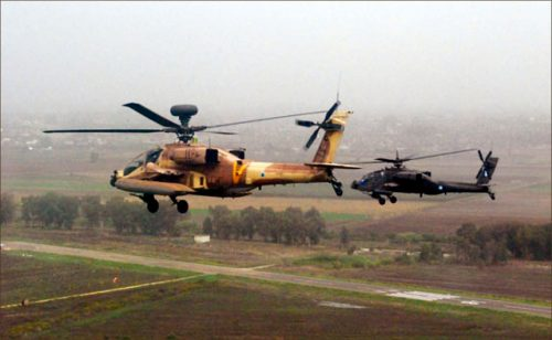 Israeli (left) and Greek helicopters