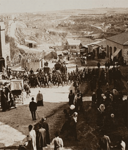 Turkish soldiers gather in Jerusalem prior to their retreat.