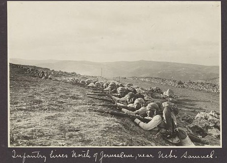 Turkish troops dug in at Nebi Samuel, 1917