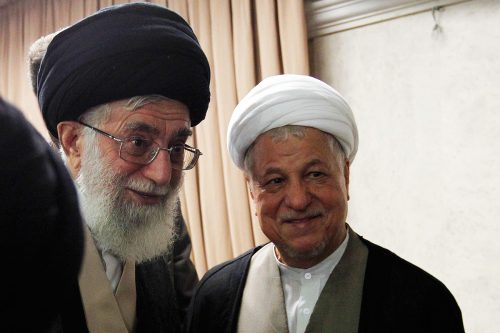Rafsanjani (right) and the Supreme Leader Khamenei