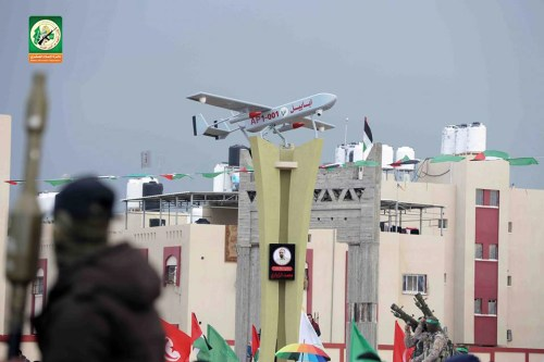 A monument dedicated to Zouari in Gaza with an Ababil drone on top.