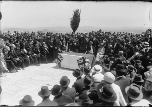 Churchill speaks at the Hebrew University tree-planting ceremony.