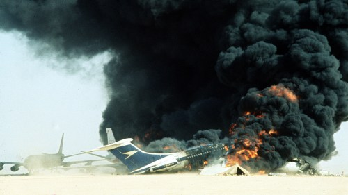 Three jet airliners hijacked by Palestinian militants