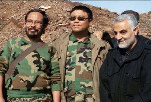 Qasem Soleimani, Commander of the Quds division, with the former Fatimiyoun brigade commander