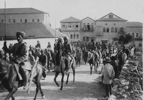 Indian Lancers guarding Turkish prisoners in Jerusalem in December 1917.