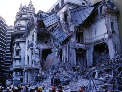 The Israeli embassy building in Buenos Aires after the 1992 bombing.