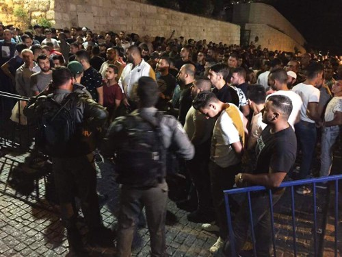 Demonstrators in the Old City of Jerusalem protesting metal detectors on Temple Mount gates.