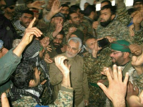 Qasem Soleimani with troops in Aleppo