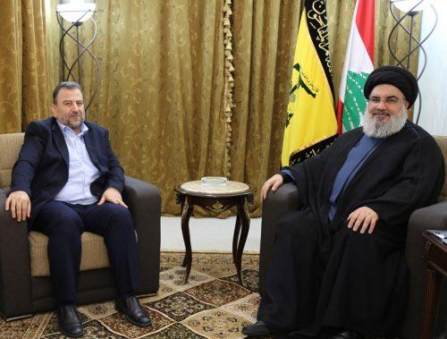 Hamas' al-Aruri and Hizbullah's Hassan Nasrallah in Beirut