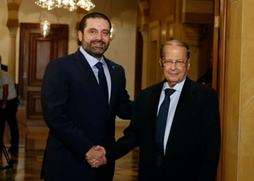 Hariri (left) and Michel Aoun in 2016