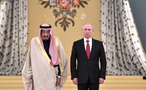 King Salman with Russian President Vladimir Putin