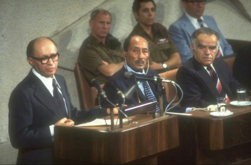 Prime Minister Begin and President Sadat in the Knesset