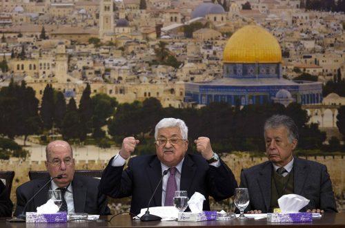 Mahmoud Abbas speaking in Ramallah