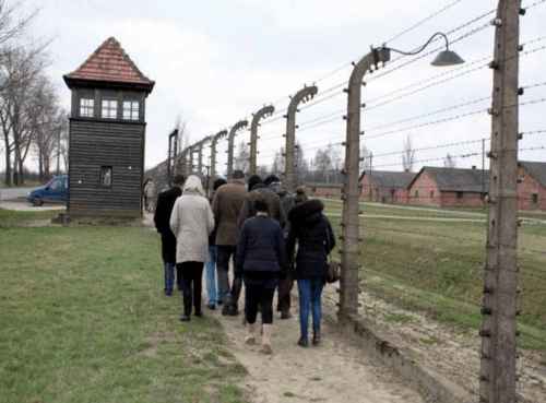 Professor Mohammed Dajani guides Palestinian students on an educational tour of the Auschwitz death camp