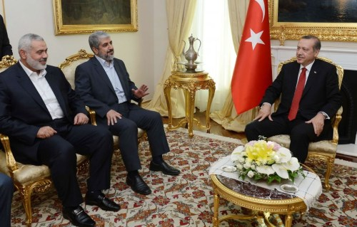 Erdogan (right) with Hamas leaders Ismail Haniyeh (left) and Khaled Mashal