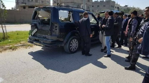 One of the cars damaged in the bomb attack on Prime Minister Hamdallah's convoy in Gaza