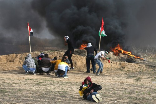 Gazan demonstrators at the border with Israel