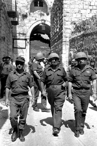 Gen. Uzi Narkiss (left), Defense Minister Moshe Dayan, and Chief of Staff Yitzhak Rabin in the Old City of Jerusalem during the Six-Day War.