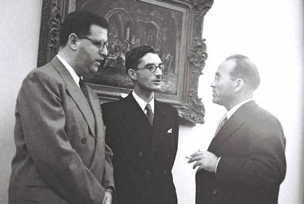 Shabtai Rosenne in the center, flanked by Abba Eban on the left and Reuven Shiloah