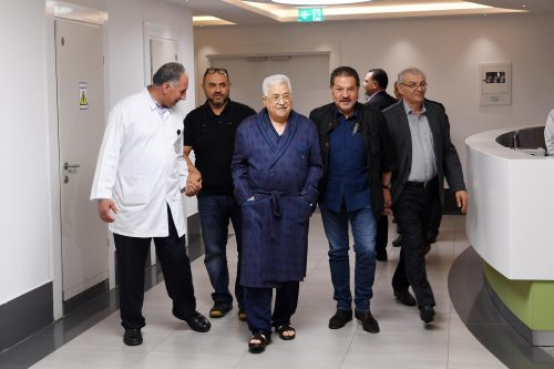 Mahmoud Abbas in the hospital in Ramallah.