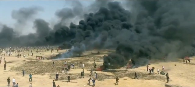 The Gaza assault on Israel's border fence.