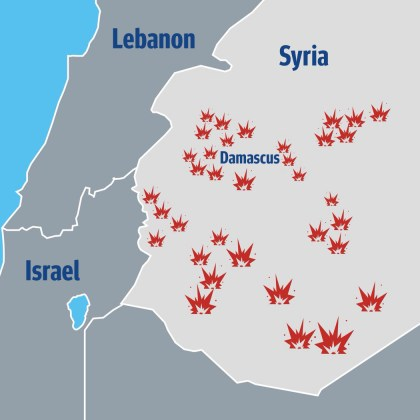 General locations of Israeli strikes in Syria on May 10, 2018.