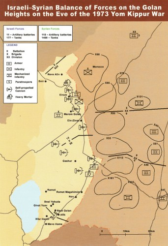 Map: the Israeli-Syrian balance of forces on the Golan Heights on the eve of the Yom Kippur War in 1973