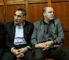 Iranian nationals Sayed Mansour Mousavi and Ahmad Abolfathi Mohammad in the Nairobi magistrates court in Nairobi, Kenya