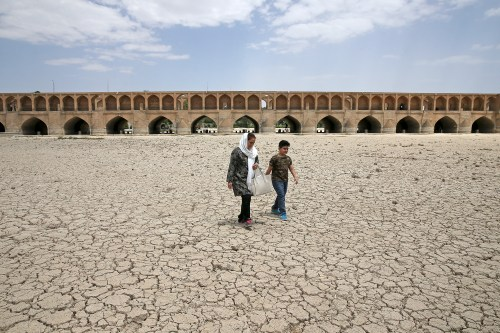 The Zayandeh Roud River no longer runs under the 400-year-old Si-o-seh Pol Bridge