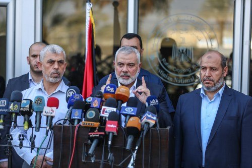 Ismail Haniyeh, Head of the Political Bureau of Hamas, holds a press conference at Rafah border crossing