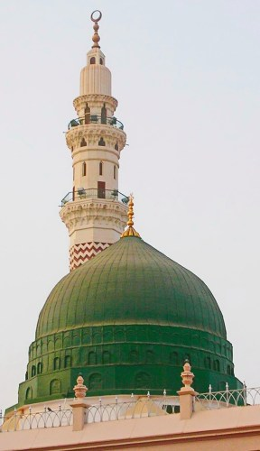 The Green Dome of the Al-Masjed Al-Nabawi Mosque in Medina