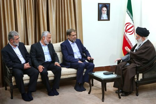 Iran's Supreme Leader Khamenei with Ramadan Abdullah Shalah and Ziad Nahlah.