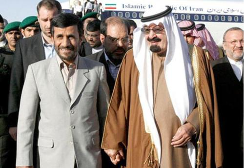 Mahmoud Ahmadinejad and Saudi King Abdullah