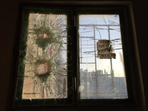 Window at Rachel's Tomb, hit by sniper bullets.