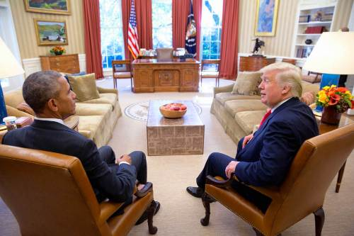 Barack Obama and Donald Trump in the Oval Office.
