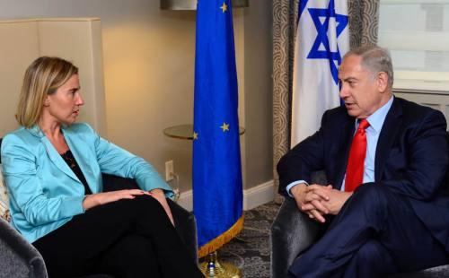 Federica Mogherini and Benjamin Netanyahu