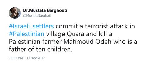 Barghouti Tweet Kafr Qusra