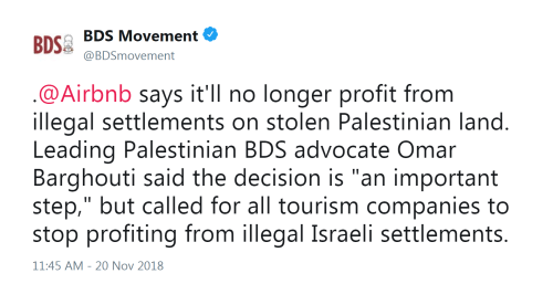 BDS Movement Airbnb tweet