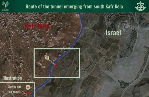 The route of the Hizbullah tunnel from Lebanon into Israel.