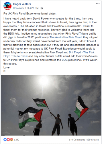 Facebook post by Roger Waters
