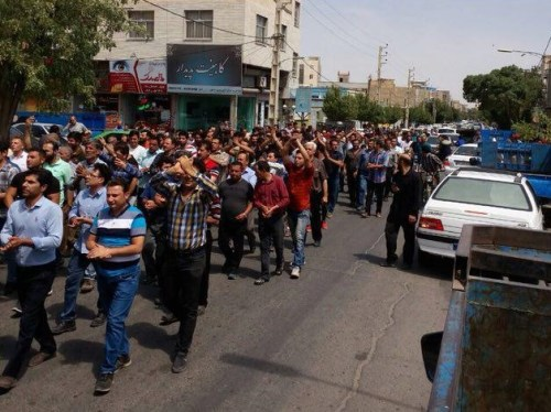 A crowd of anti-government protesters in Karaj