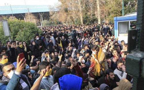 University students protesting inside Tehran University.