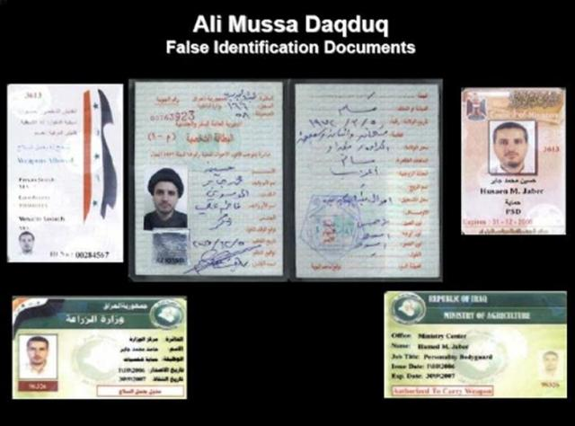 False Identification papers found on Daqduq when he was captured in 2007