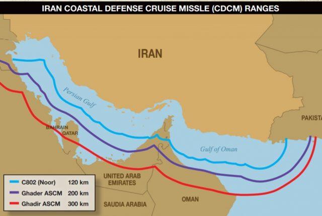 Iran Coastal Defense Cruise Missle (CDCM) Ranges
