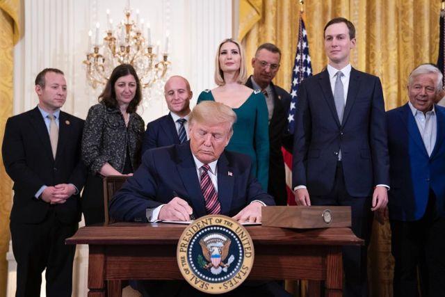 U.S. President Donald Trump signs an Executive Order combating anti-Semitism