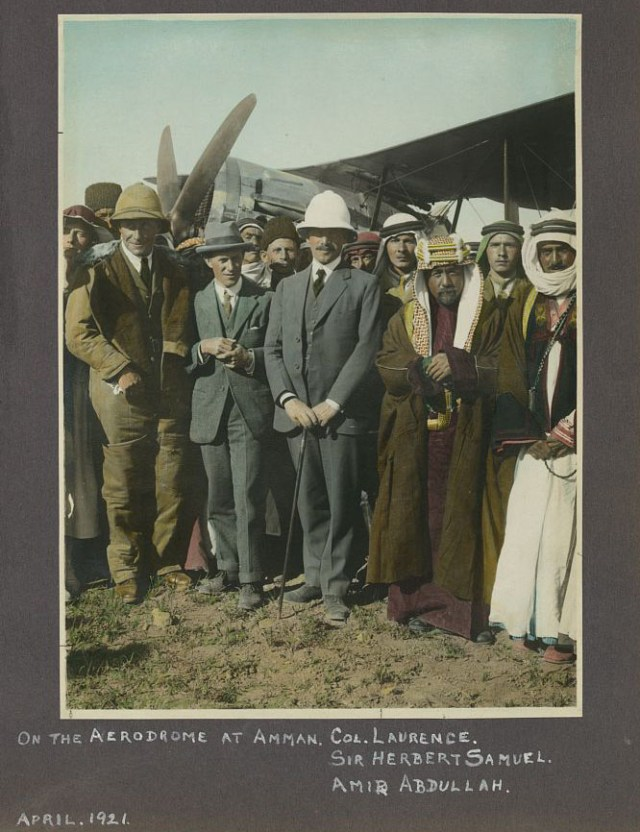 Samuel in the helmet between Col. Lawrence and Emir Abdullah