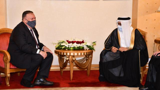 Abdullatif bin Rashid Al-Zayani (R) hosts U.S. Secretary of State Mike Pompeo in Manama
