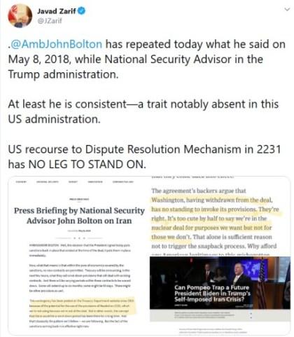 Javad Zarif Tweet quotes John Bolton