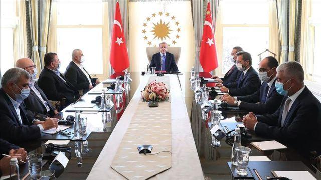 Erdoğan hosting Hamas' leadership in his office, August 22, 2020