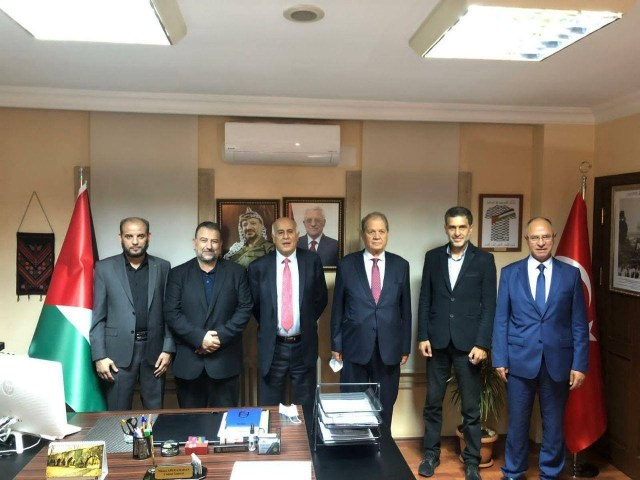 Fatah and Hamas leaders meeting in Istanbul, September 2020. Second from the left is Salih al Aruri from Hamas. Third from the left is Fatah's Jibril.